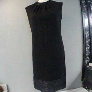 Vtg 1960s Leslie Fay Black Wool Sheath Dress